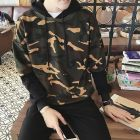 Hipster Korean Men's Fashion Two Tone Color Camouflage Pattern Designs Long-sleeve Hooded Sweater