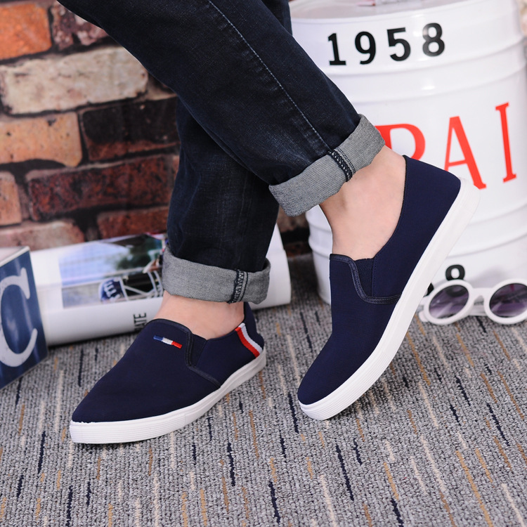 Korean Unisex Fashion Stripe Design Casual Slip-on Shoes