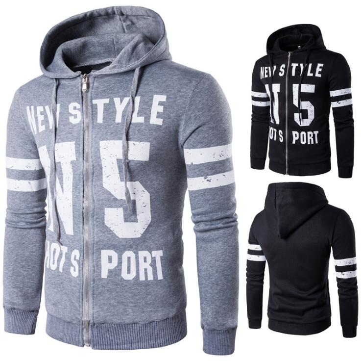 Sporty Men\'s Simple Casual Alphabet Printed Stripes Pattern Sleeve Designs Hooded Sweater Jacket