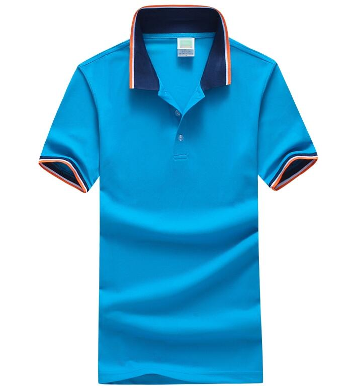 Two-tones Color Simple Leisure Plains Designs Formal Casual Polo Tee Shirts