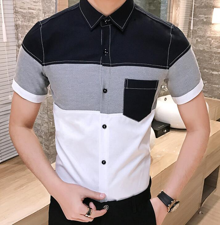 Korean Men\'s Fashion Color Block Pattern Designs Classy Formal Short-sleeve Shirts