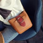 Graceful Two Tones Color Strap Charming Round Metal Ring Buckle Chains Small Ladies Sling Bag
