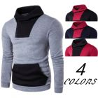 Men's Sporty Fashion Simple Casual Two-tones Color Pattern Comfy Training Hooded Sweater