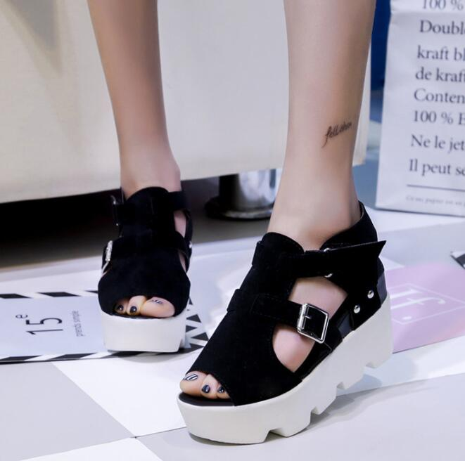 European Women's Fashion Open Toes Design Thick Bottom Casual Shoes