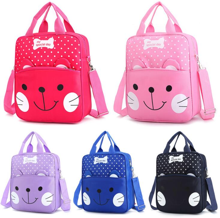 Flashy Color Polka Dots Kitty Pattern Designs Kids Small Square Backpack