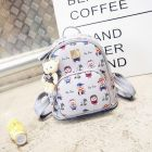 Girlish Ladies Cute Little Teddy Bear Pattern Printed Candy Color Bear Plush Pendants Small Round Backpack