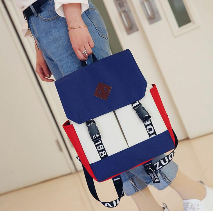 Stylish Ladies Color Merged Pattern Designs Alphabet Strap Pattern Designs Square Large Flip Backpack
