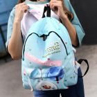 Cool Mint Blue Color 3D Candy Pattern Printed Girlish Ladies Student Round Nylon Backpack