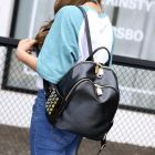 In-styles Ladies Classic All Black Rivets Beaded Pattern Designs Small Round Zip Backpack
