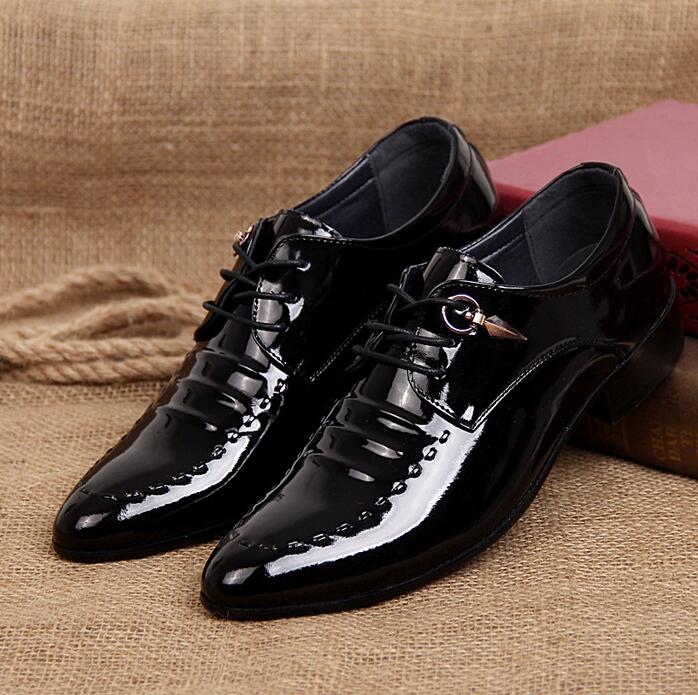 Korean Men's Fashion Plain Toe Leather Oxford Shoes