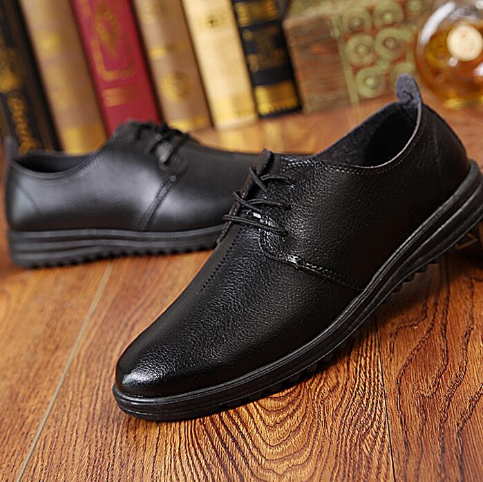 Korean Men's Fashion Casual Business Working Leather Plain Toe Derby Shoes