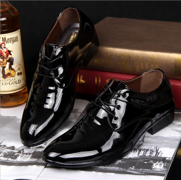 Business Men's Korean Fashion Shiny Leather Open-lace Plain Toe Derby Shoes