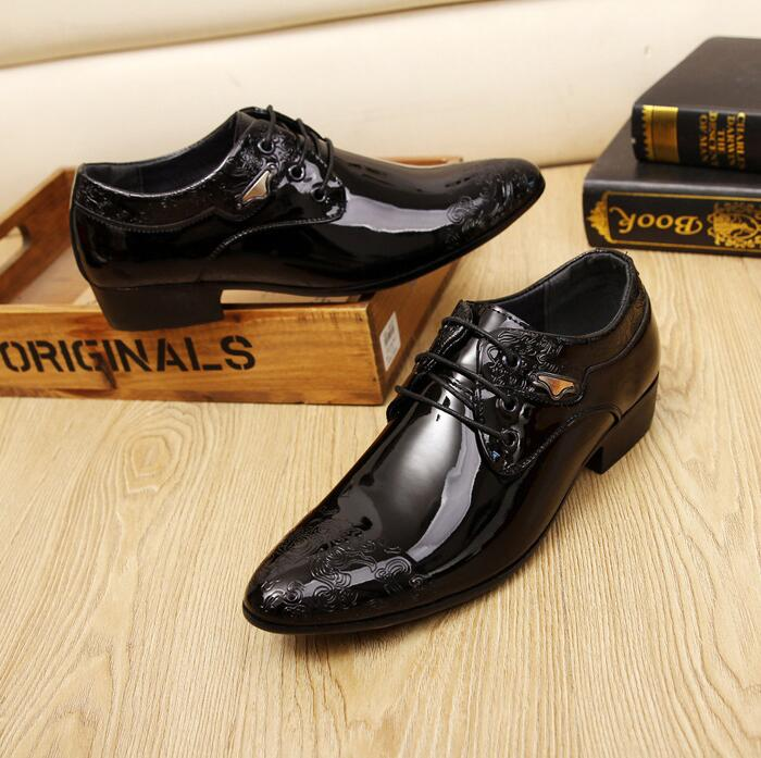 Business Men's Korean Fashion Pointed Cap Toe Shinny Leather Derby Shoes