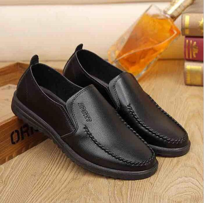 Business Men's Korean Fashion Simple Design Slip-on Leather Casual Penny Loafer Shoes