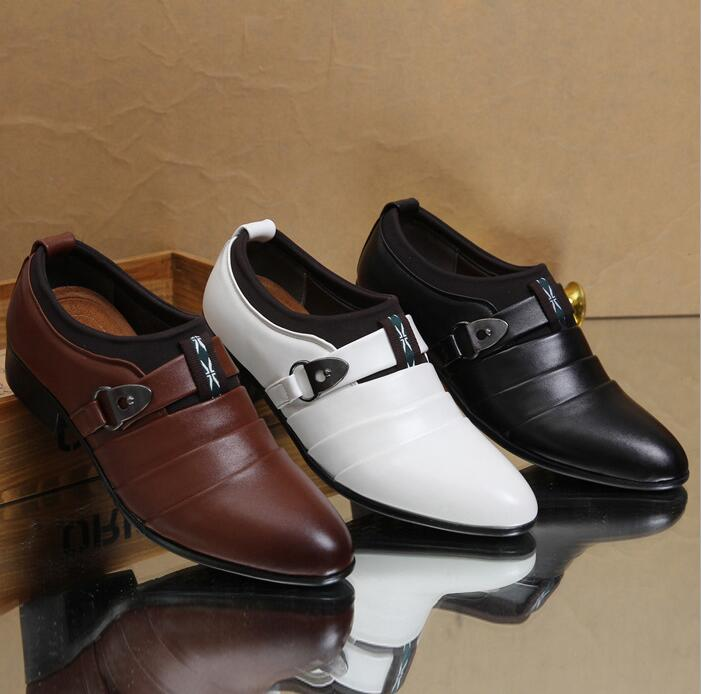 Business Men's Korean Fashion Casual Leather Single Buckle Strap Shoes