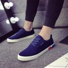 Simple Casual Men's Plain Color Pattern Designs Stylish Thick Bottom Street-wear Canvas Sneaker