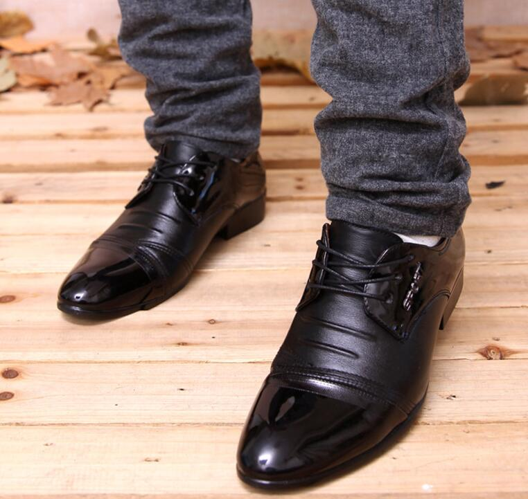 Business Men's Korean Fashion Shiny Plain Toe Open-lace Casual Derby Shoes