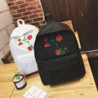 Korean Fashion Retro Flowers Rose Embroidery Canvas Women Shoulder Backpack