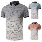 Men's Stylish Youth Fashion Irregular Lines Pattern Washed Color Design Short-sleeved POLO Shirt