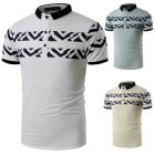 Men's Stylish Youth Fashion Art Pattern Line Short-sleeve Low Spread Neck POLO Shirt