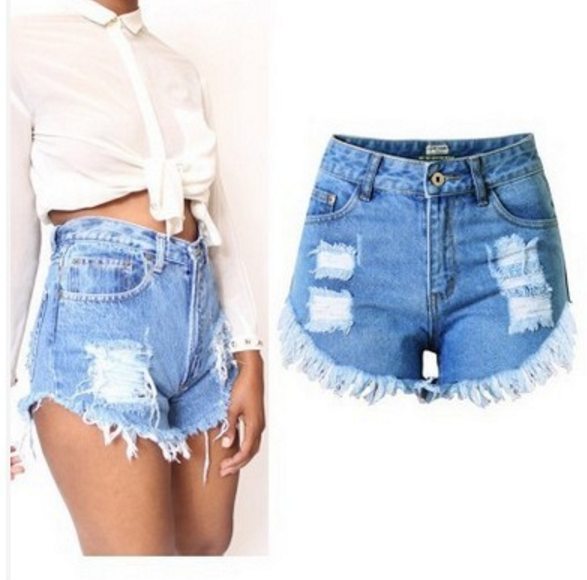 European Women's Fashion Casual High Waist Ripped Denim Short Pants