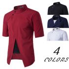 Men's Stylish Youth Fashion Authentic Oblique Lapel Fake-two Pieces Short-sleeve Collar Shirt