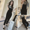 Korean Women's Fashion Casual Stripe Design Suit Two Pieces Sets