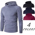 Men's Stylish Youth Fashion Solic Color Large Pockets Long-sleeve Hooded Sweater