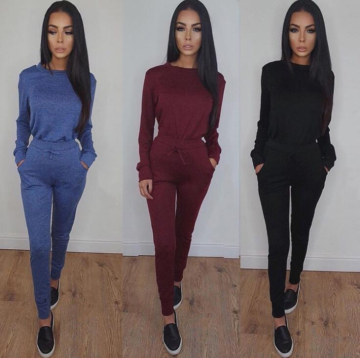 Classy Sporty Ladies Casual Plains Color Pattern Designs Long-sleeve Sweater With Long Jogger Pants /2pc Per Set