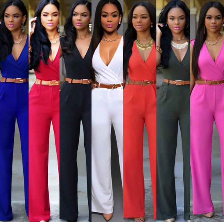 Elegant Ladies Deep V Pattern Belt Detailed Sleeveless Jumpsuits