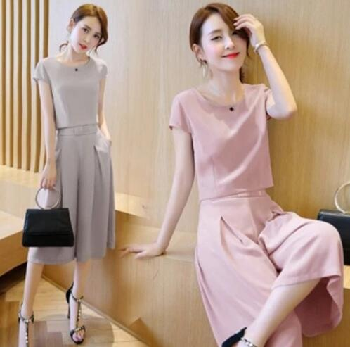 Women's Korean Fashion Casual Simple Plain Color Loose Shirt Pants Two Sets