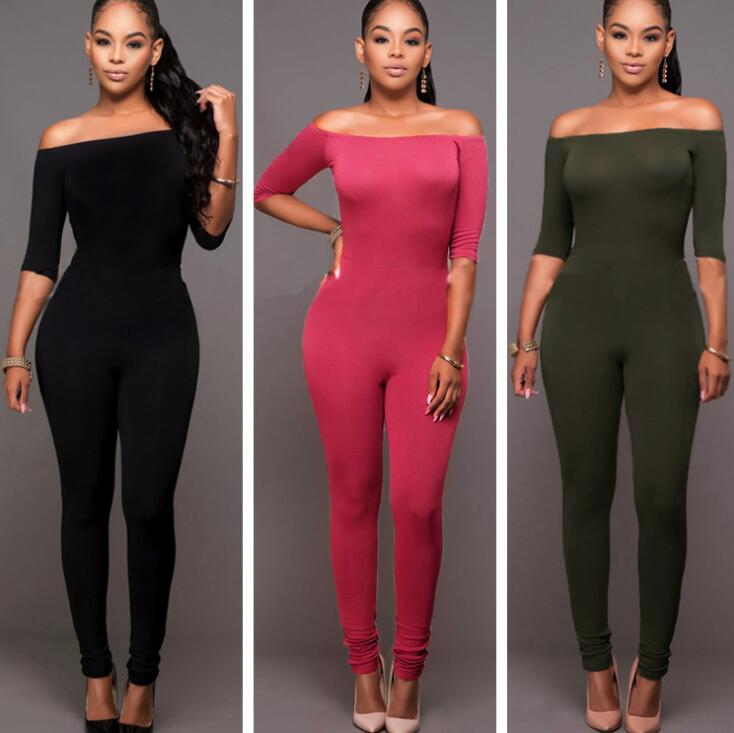 Simple Plains Color Off-shoulder Tight Bodycon Three-quarter-sleeve High-waist Jumpsuits