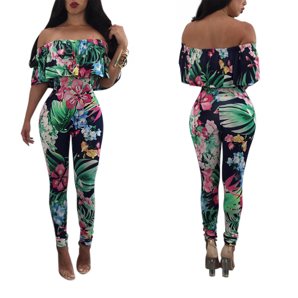 European Women's Fashion Floral Design Off Shoulder Digital Logo Printing Jumpsuit