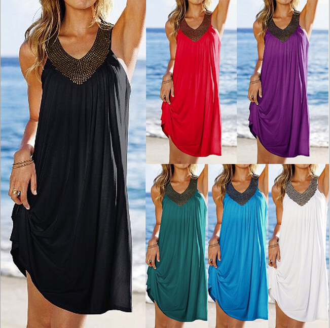 European Women's Fashion V Neck Simple Design Beach Loose Dress