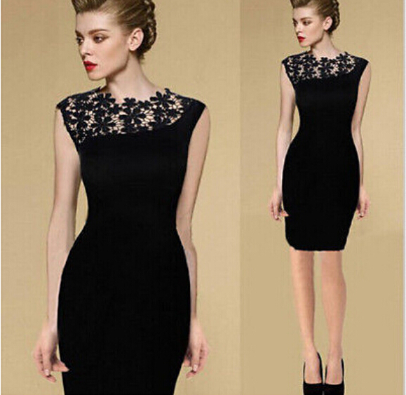 European Women's Fashion Elegant Black Slim Fit Lacing Dinner Midi Dress
