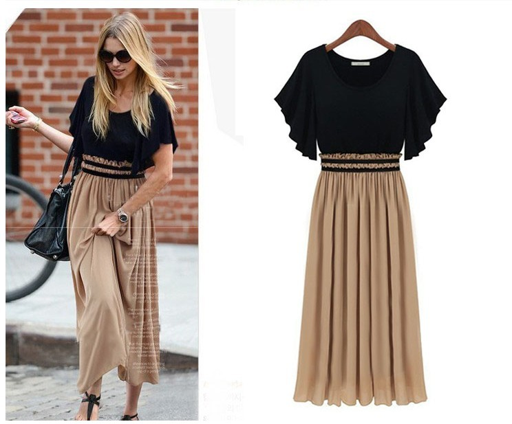 European Women's Fashion Trumpet Sleeve Design Casual Chiffon Loose Long Dress