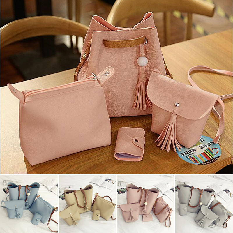 Korean Women's Fashion Casual Simple Plain Color Tassel Composition Bag /4pcs per Set