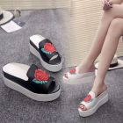 Korean Sweet Ladies Charming Rose Pattern Embroidery Thick Bottom Peep-toe Wedges Sandals
