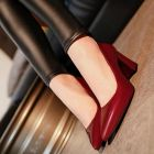 Sharp Bling Color Formal Mature Ladies Simple Elegant Thick Square Bottom Pointed High Heel Shoes