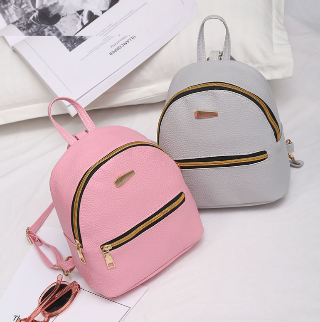 Korean Women's Fashion Simple Zipper Design Casual Mini Backpack