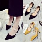 Retro Ladies Fashion Charming Pearls Ankle Pattern Designs Sweet Pointed Suede Kitten Heels Shoes