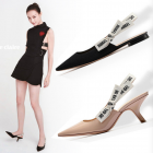 Korean Women's Fashion Pointed Head Letter Ribbon Design Casual High-heeled Shoes