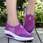 Sporty Ladies Colorful Breathable Mesh Fabric Hollow Pattern Designs Thick Bottom Comfy Slip-on Shoes