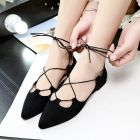 Korean Women's Fashion Tie Ribbon Pointed Head Casual Flat Shoes