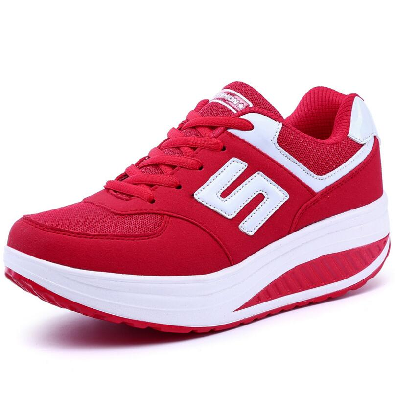 Simple Color Merged Pattern Designs Thick Bottom Breathable Comfy Ladies Sneaker