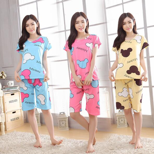 Korean Women Fashion Creative Graphic Printed Short Sleeve and Pant Pajamas Suit
