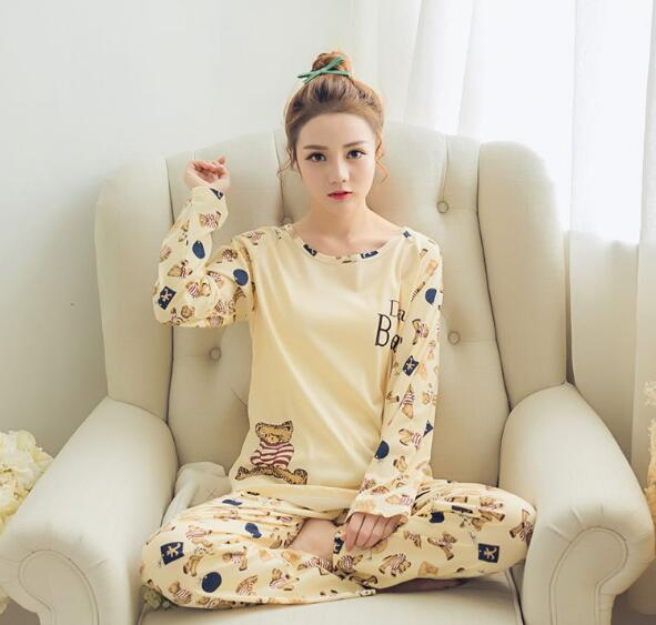 Korean Women Fashion Lovely Cute Cartoon Long Sleeve and Pant Pajamas Suit Set