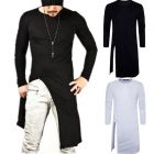 Hip-hop Men's Fashion Long Style Long-sleeved Crew Neck Simple T-shirt
