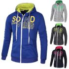 Trendy Men Fashion Zipper Logo Letter Printed Hoodie Slim-fit Sweater
