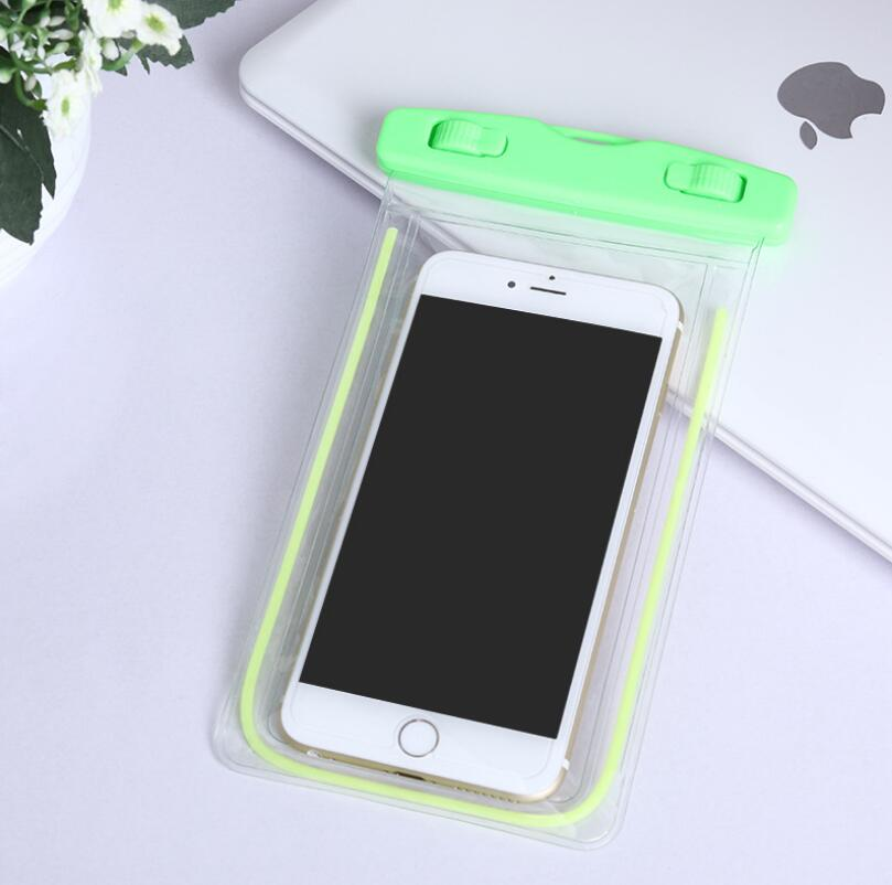 Luminous Fluorescent Color Outdoor Swimming Activities Used Waterproof Phone Cover Bag